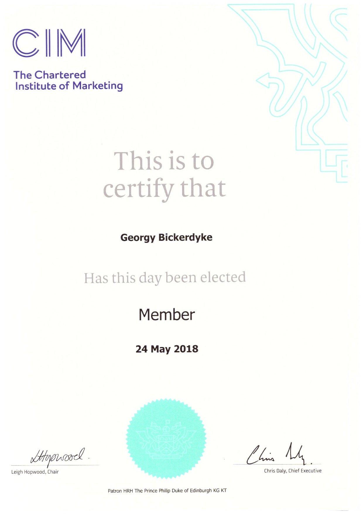 Georgy Bickerdyke (MCIM) Chartered Institute Of Marketing (Member)