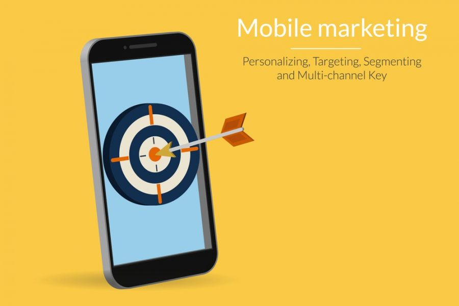Mobile marketing and targeting. Smartphone with dartboard in the screen.